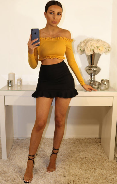 Mustard Ribbied Frill Detail Bardot Crop Top