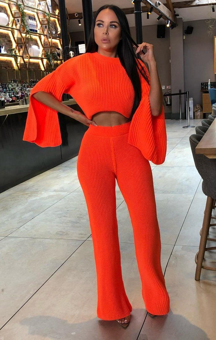 Neon Orange Oversized Split Sleeve Top Co-Ord Set - Ash