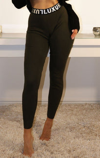 Khaki Luxury Printed Waistband Leggings