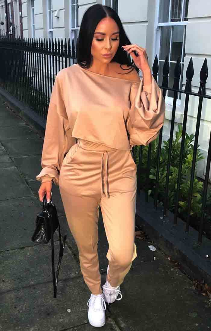 Camel Balloon Sleeve Off the Shoulder Loungewear Set - Hollie