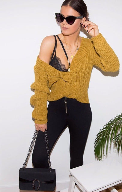 Mustard Plated Cable Knit Jumper