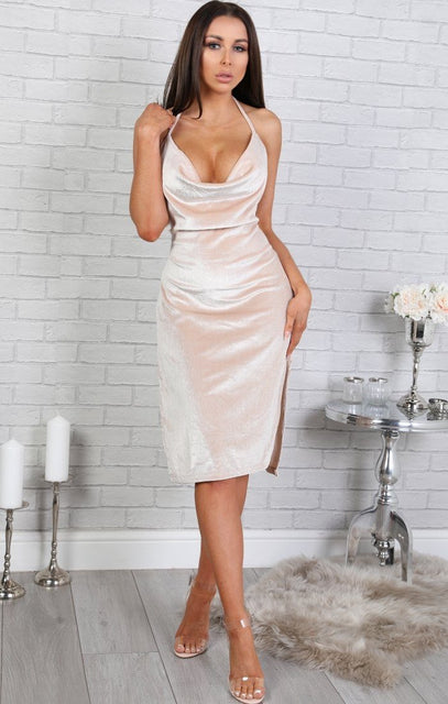 Champagne Velvet Halter Neck Dress - Katie