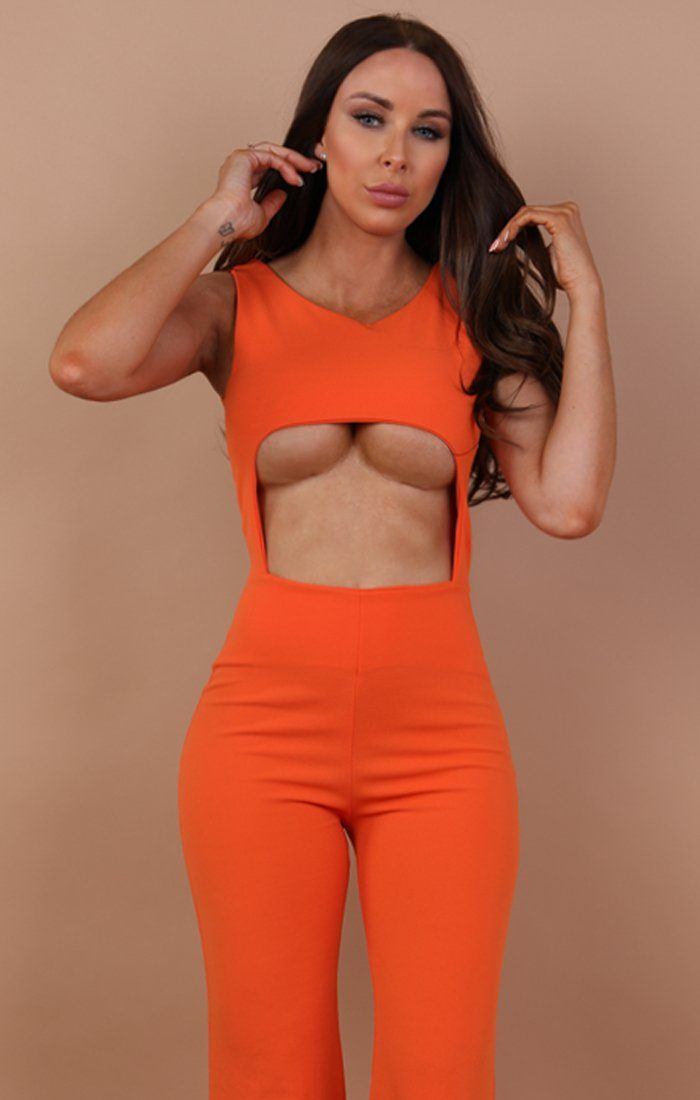 Orange Cut Out Wide Leg Jumpsuit - Lynn