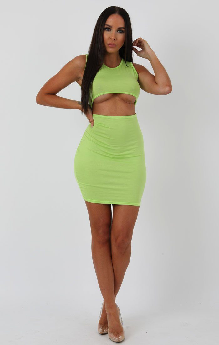 9bbc5ac34 Lime Underboob Cut Out Bodycon Dress | Dresses | Femme Luxe