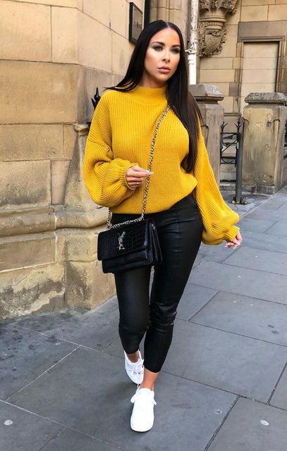 Mustard Oversized Bloom Sleeve Knitted Jumper - Roisin