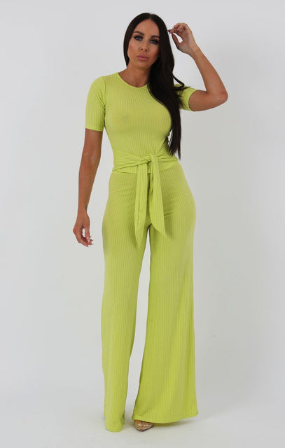 Lime Ribbed T-shirt Tie Flared Loungewear - Billie