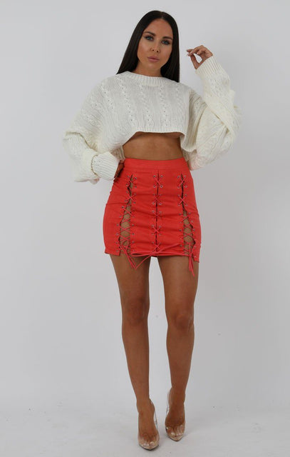 Coral Faux Suede Lace-up Bodycon Skirt - Kayla
