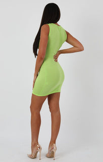 Lime Underboob Cut Out Bodycon Dress - Briana