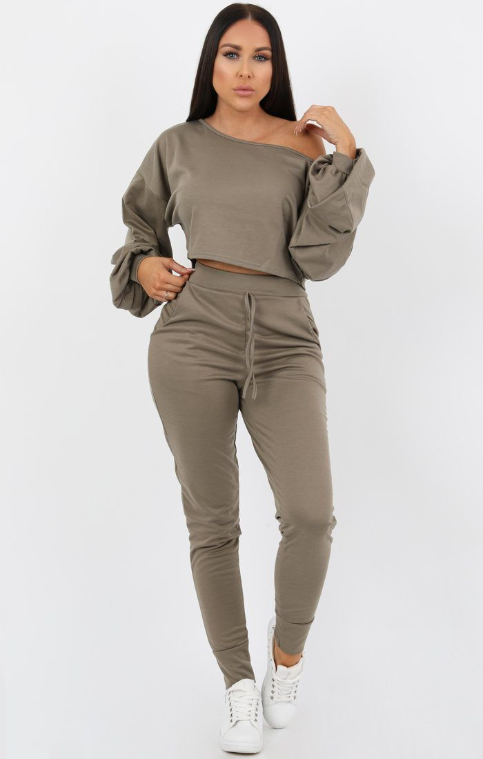 Khaki Balloon Sleeve Off the Shoulder Loungewear Set - Hollie Loungewear FemmeLuxe