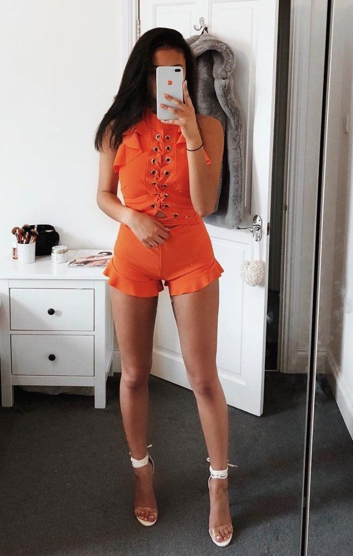 Orange-frill-lace-up-playsuit-piper