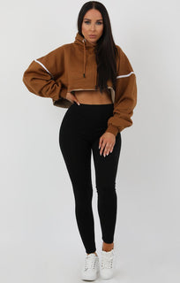 Brown Stripe Hooded Crop Sweater Jumper - Gia