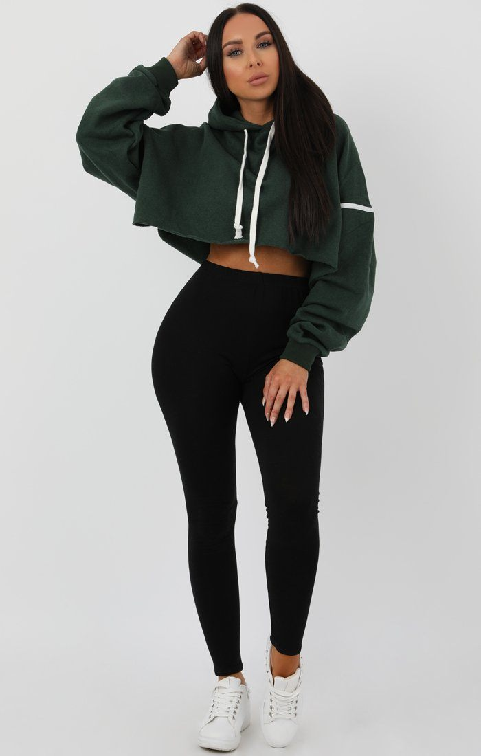 Green Stripe Hooded Crop Sweater Jumper - Gia Jumpers FemmeLuxe