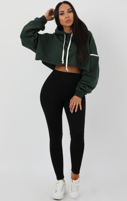 Green Stripe Hooded Crop Sweater Jumper - Gia