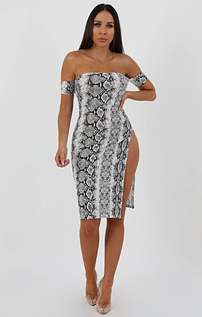 Animal Snake Print Cuff Detail Split Side Midi Dress - Jennifer