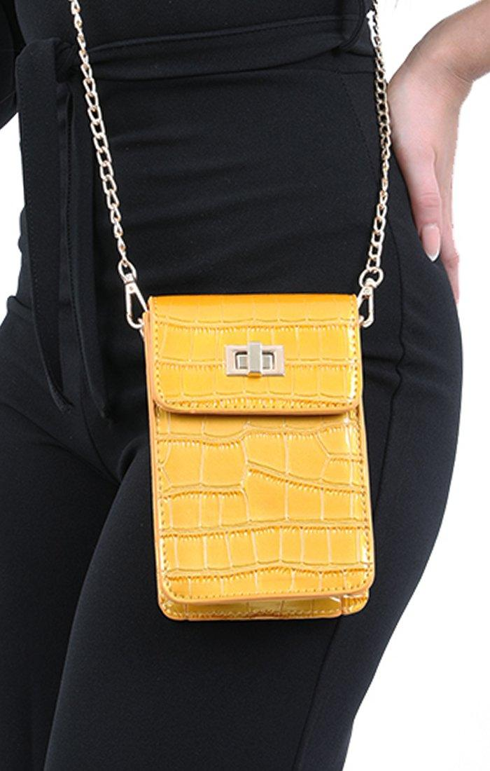 Yellow Croc Cross Body Bag - Kennedy