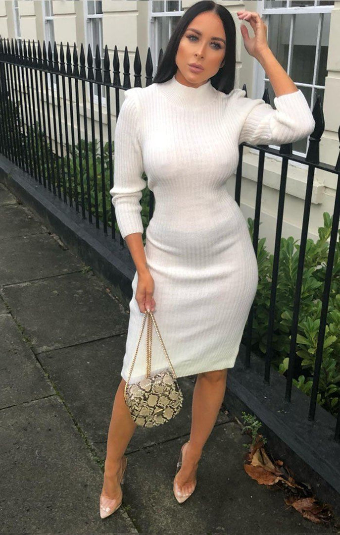 87df5aabfff8 Cream Knitted Ribbed Long Sleeved Midi Dress - Ellie