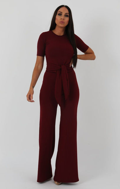 Wine Ribbed T-shirt Tie Flared Loungewear - Billie