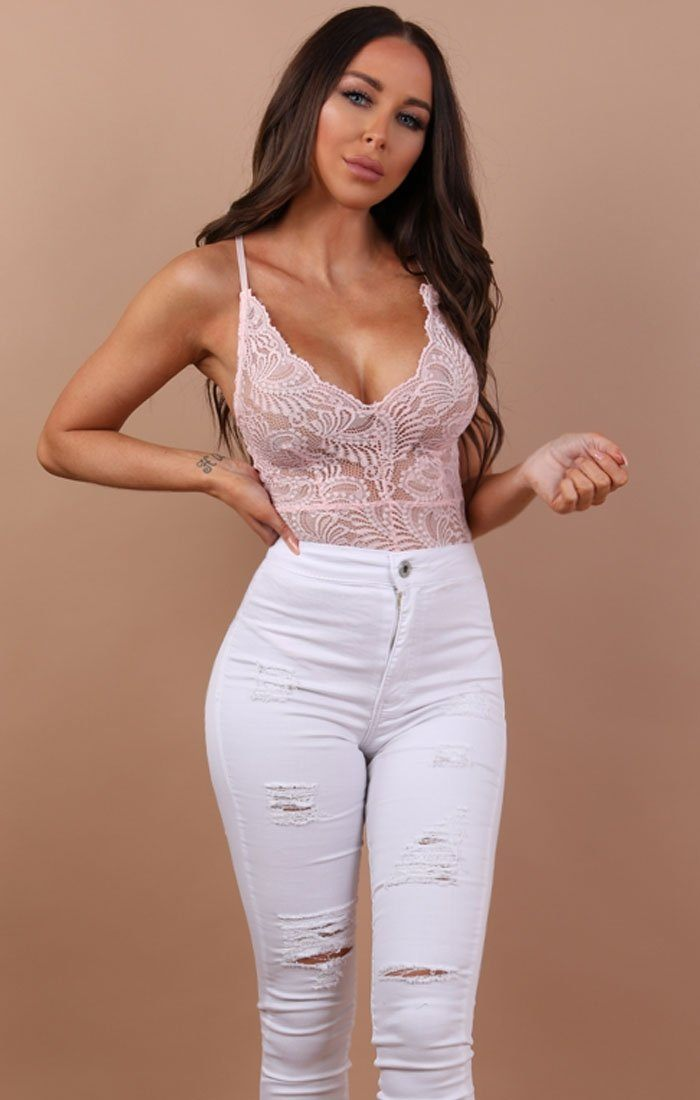 Nude Floral Sheer Lace Bodysuit - Alma