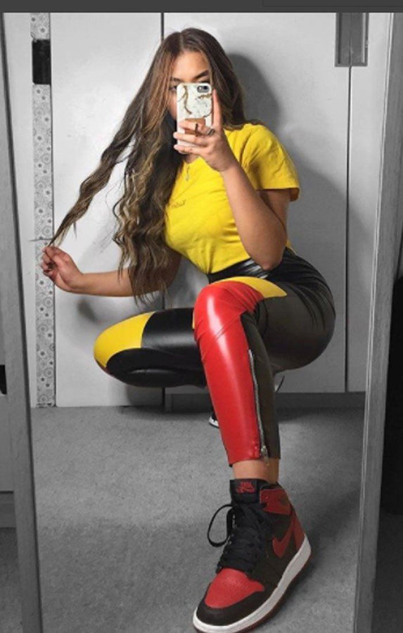 Black-and-yellow-panel-biker-trousers–Eden