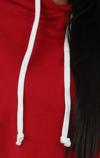 Red Stripe Hooded Crop Sweater Jumper - Gia