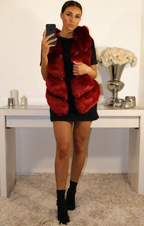 RED FAUX LEATHER AND FUR GILET