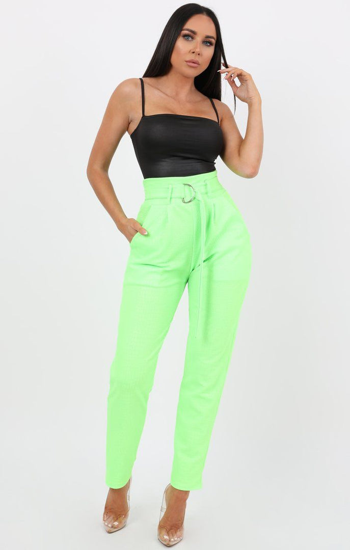 Neon Lime Animal Crocodile Print Cigarette Trousers with Belt - Kim