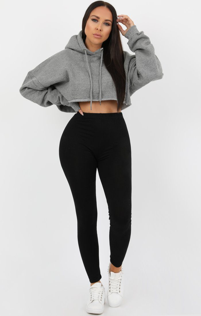 Grey Hooded Crop Sweater Jumper - Gia Jumpers FemmeLuxe