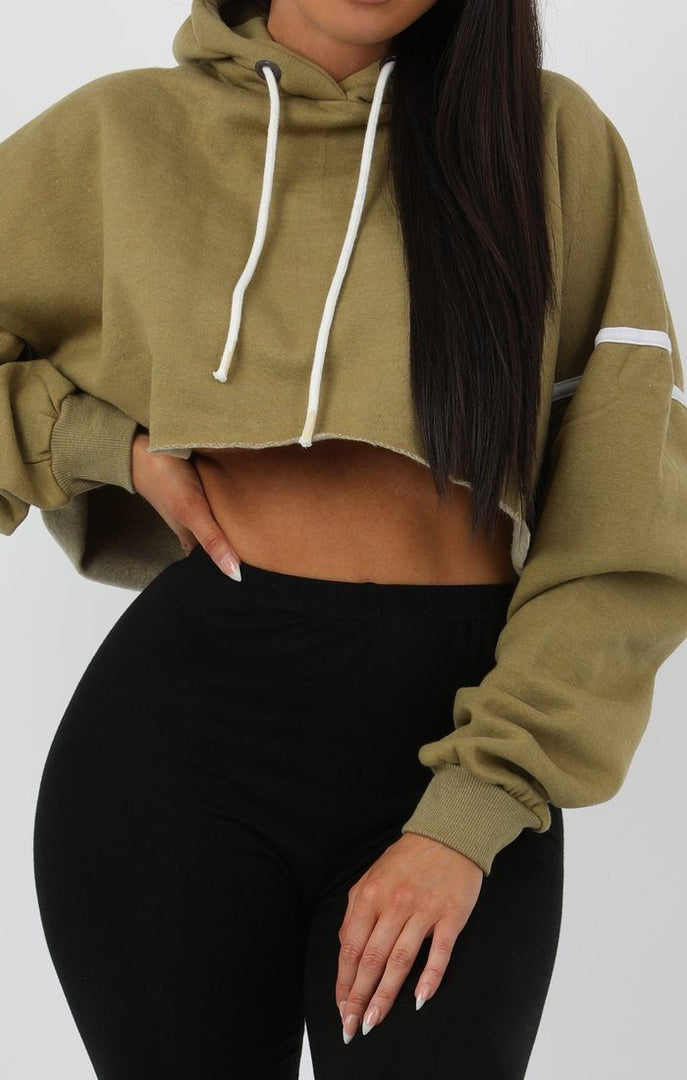 Khaki Stripe Hooded Crop Sweater Jumper - Gia