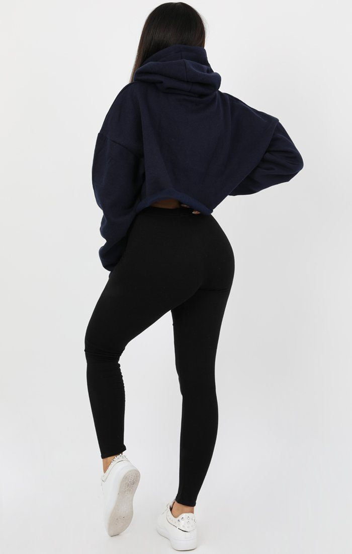 Navy Blue Hooded Crop Sweater Jumper - Gia