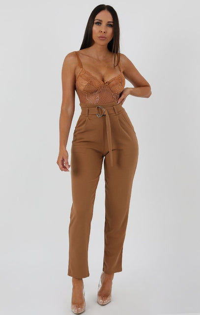 Camel Tapered Cigarette Trousers - Lydia