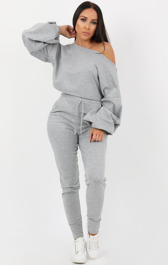 Grey Balloon Sleeve Off the Shoulder Loungewear Set - Hollie Loungewear FemmeLuxe