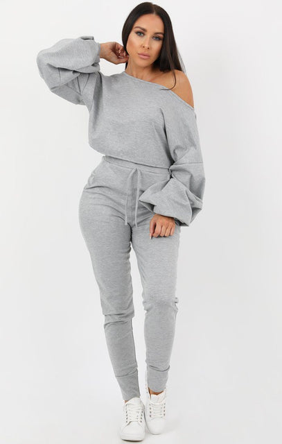 Grey Balloon Sleeve Off the Shoulder Loungewear Set - Hollie