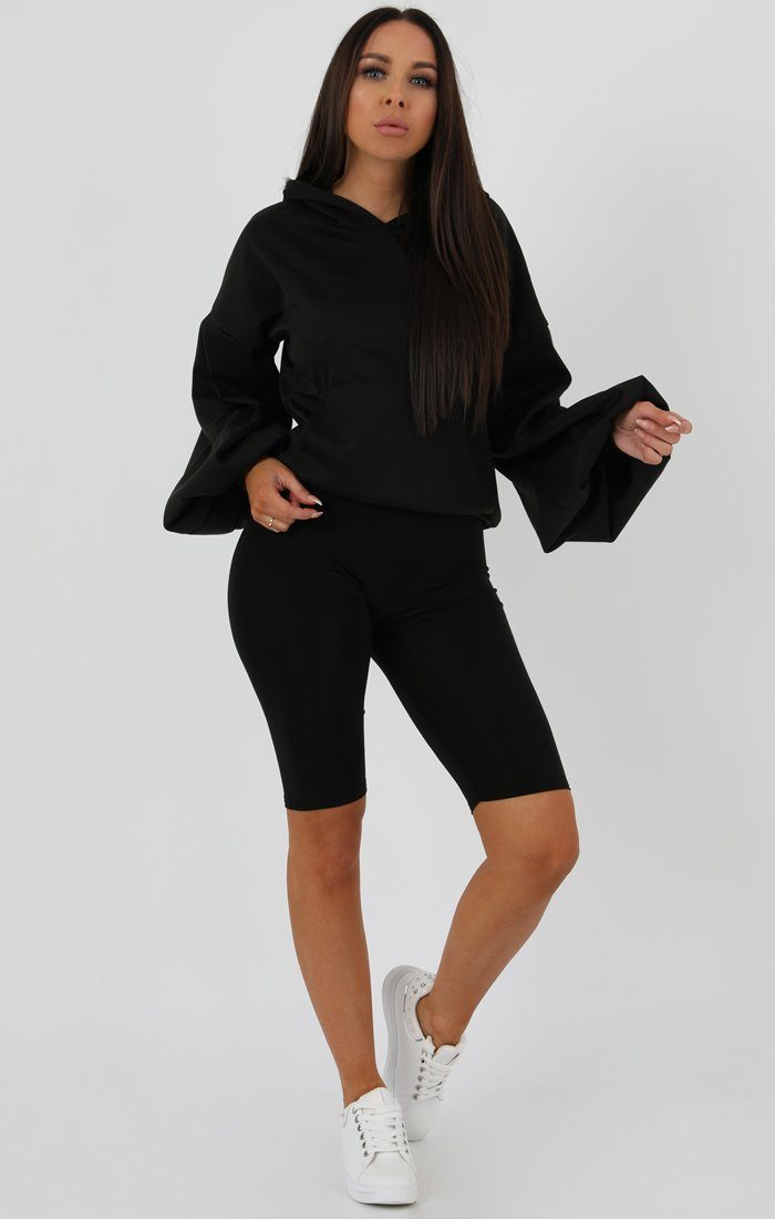 Black Flare Cuff Sleeve Hooded Jumper - Tracey