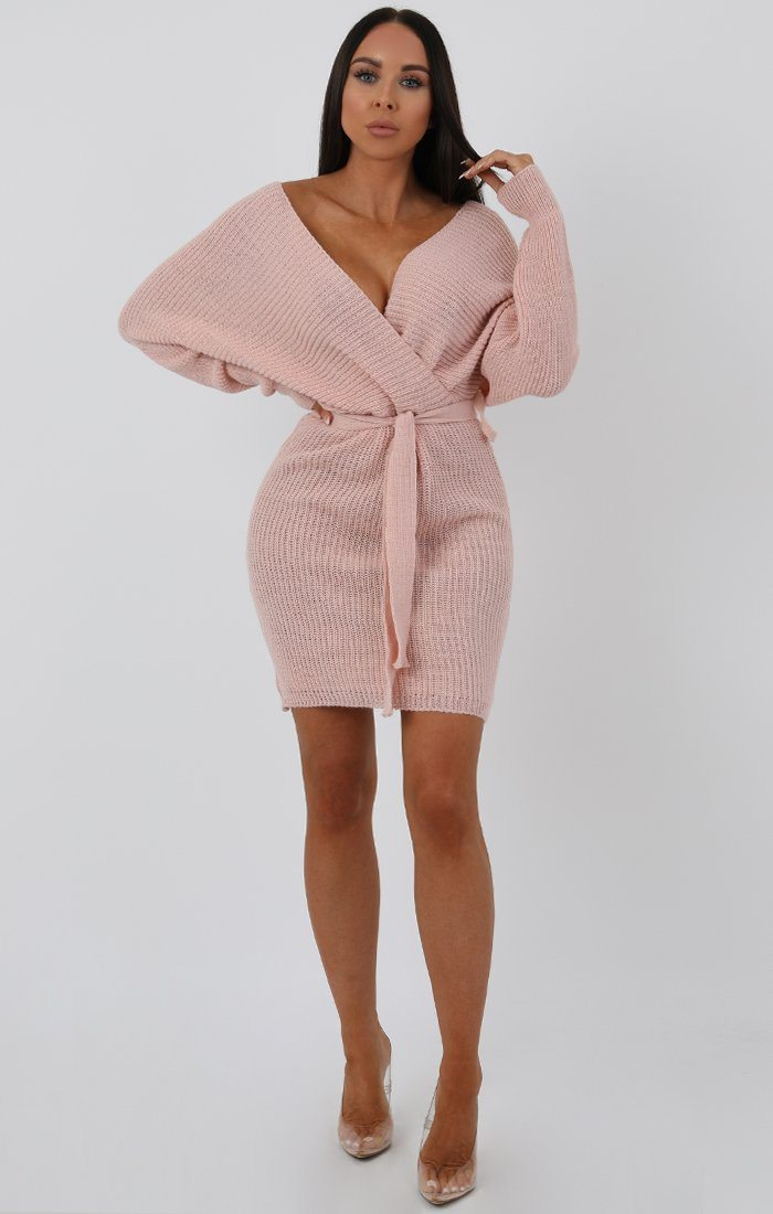 Rose Knit Long Sleeve Tie Front Wrap Dress - Star