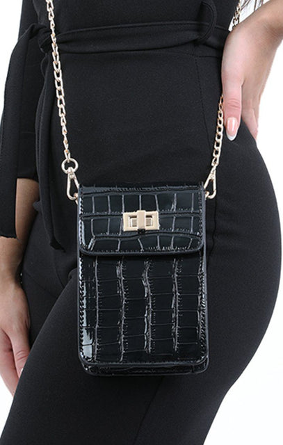Black Croc Cross Body Bag - Kennedy
