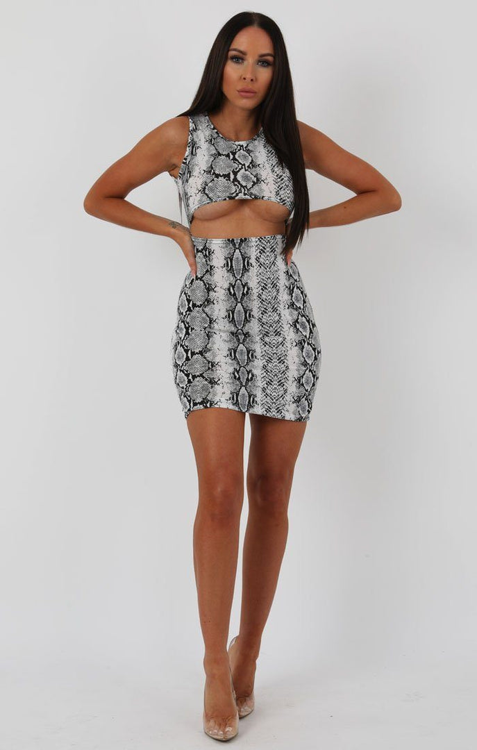 Animal Snake Print Underboob Cut Out Bodycon Dress - Briana