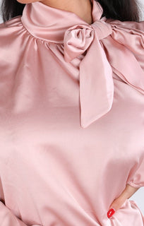 Pink Satin Bow Tie Shirt