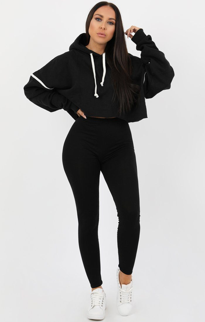 Black Stripe Hooded Crop Sweater Jumper - Gia Jumpers FemmeLuxe