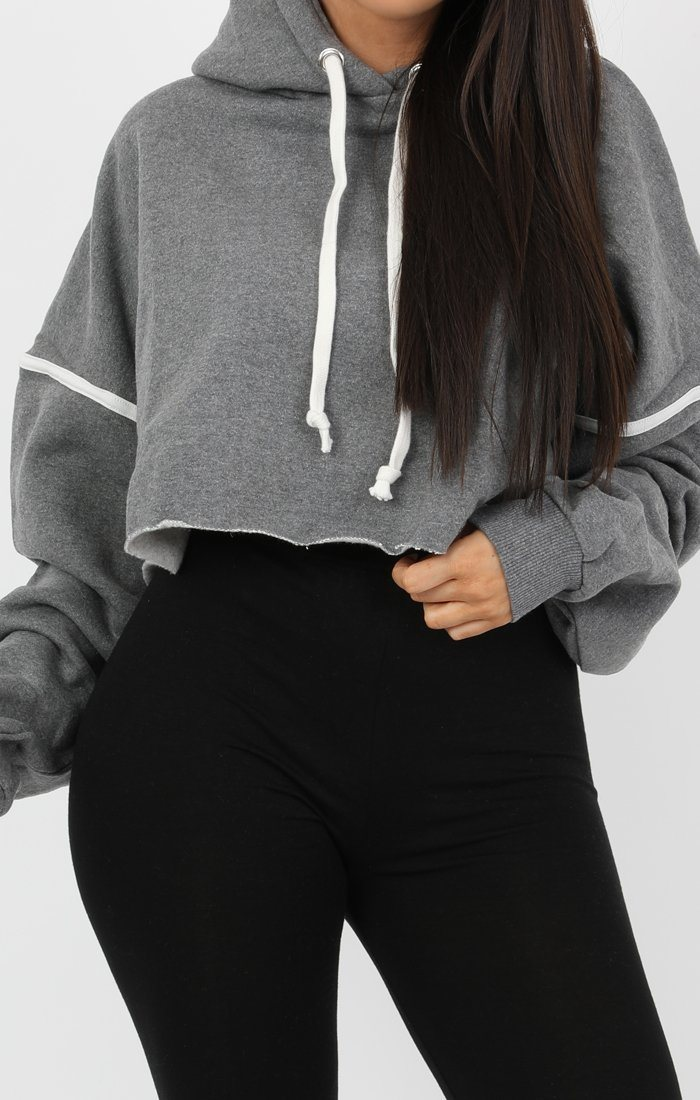 Grey Stripe Hooded Crop Sweater Jumper - Gia