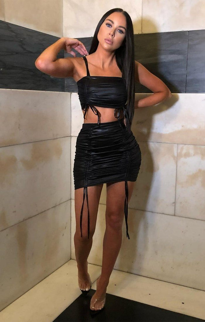 Black PU Ruched Co-ord