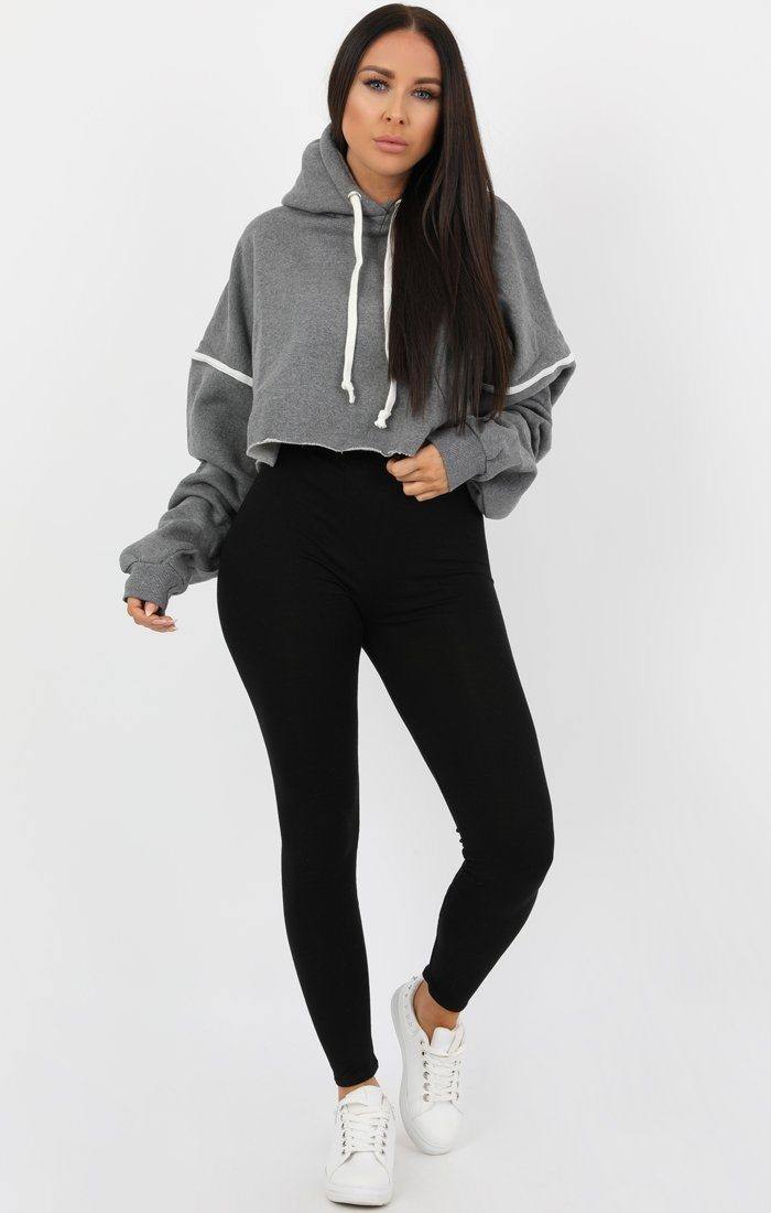 Grey Stripe Hooded Crop Sweater Jumper - Gia Jumpers FemmeLuxe