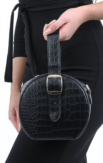 Black Croc Buckle Mini Grab Bag - Riley