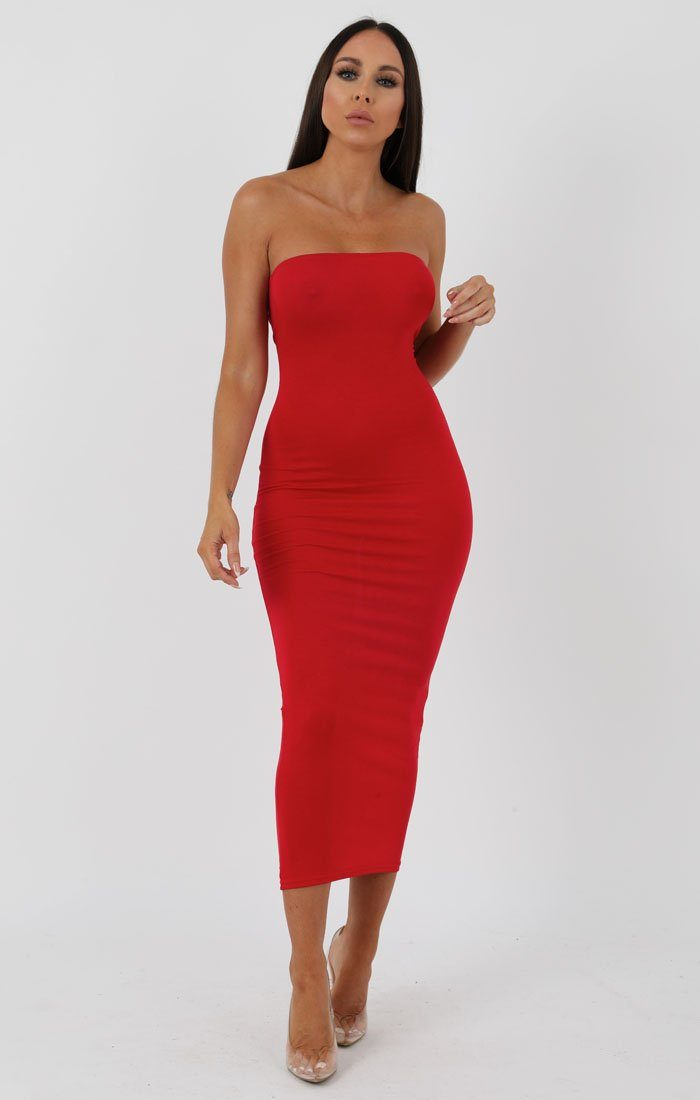 Red Bandeau Bodycon Midi Dress - Ariana