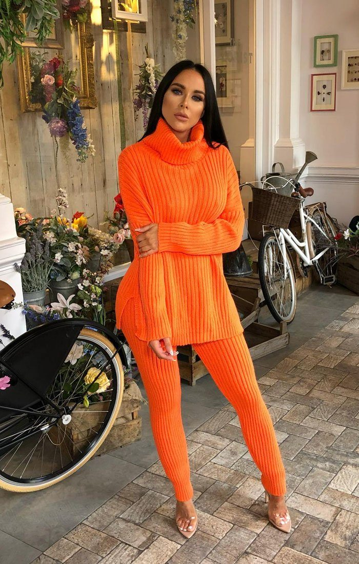 Orange Oversized Turtle Neck Jumper Co-Ord - Aionna