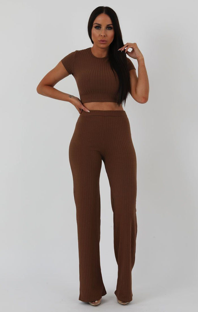 Brown-Crop-Ribbed-Two-Piece-Set-Suzi