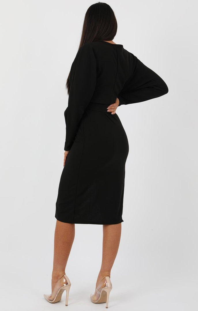 Black Long Sleeve Extreme Side Split Midi Dress - Alvona