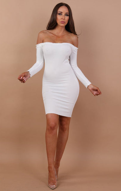 White Bardot Frill Midi Dress - Fiona