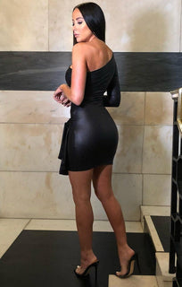 Black One Shoulder Leather Look Dress - Bella