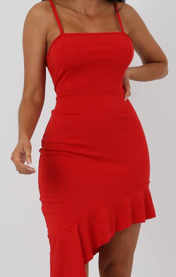 Red Cami Frill Dip Hem Dress - Merida