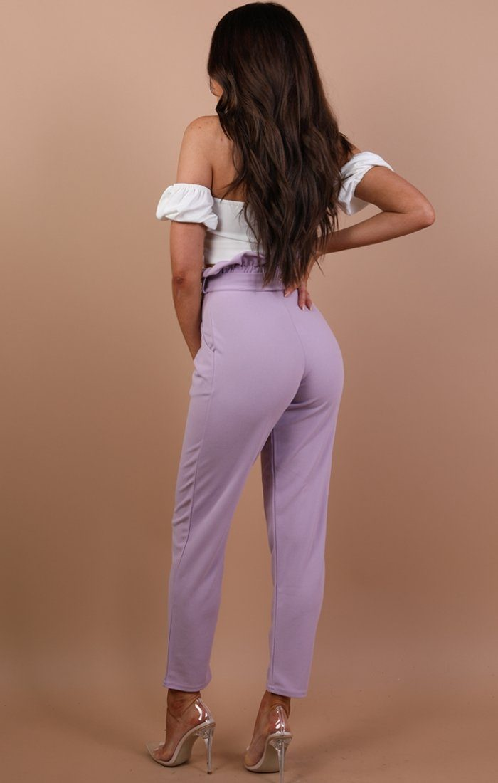 Lilac Paper Bag Slim Fit Trousers - Laurie
